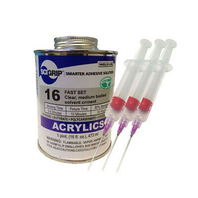 Weld-On 16 Acrylic Adhesive - Pint and 3 Pack of 16-Gauge Syringe Applicator