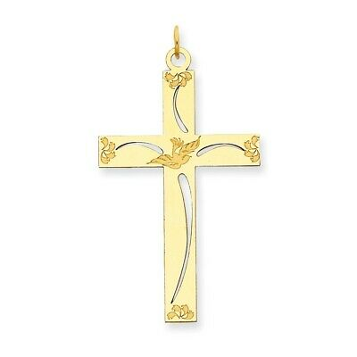 14k White Gold Hollow Polished Rounded Latin Cross Pendant 26x16mm