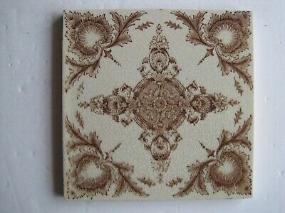 Antique Victorian Sherwin & Cotton Brown Aesthetic Transfer Print Tile C1890