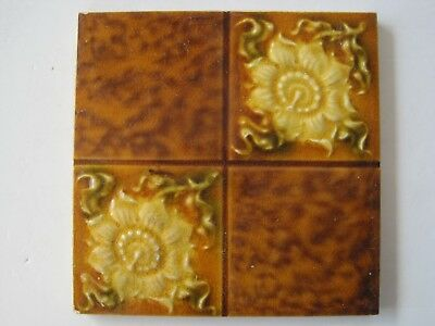 Antique Art Nouveau Glazed Wall Tile - Quartered Gold Flowers / Marble Effect