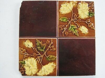 Antique Art Nouveau Glazed Wall Tile - Quartered Yellow Flowers / Plain Brown