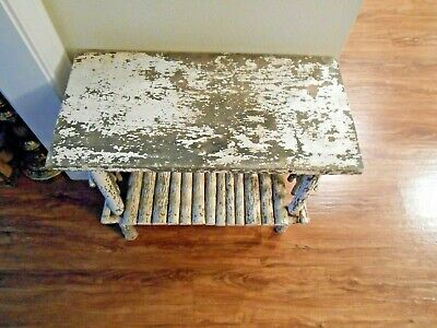 Antique Hand Made Twig Table with white peeling paint!! Unique & Rare!!