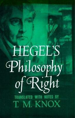 Hegel's Philosophy of Right (Galaxy Books), Hegel, G. W. F., Used; Good Book