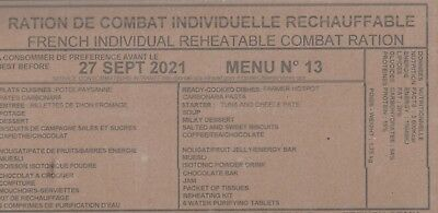 * MENU N° 13  EEC FREE POSTAGE : 1 ration combat  RICR militaire DLUO FIN 2021