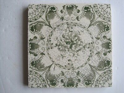 Antique  H. Richards Green Aesthetic / Floral Transfer Print Tile C1902 - 09