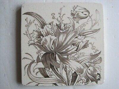 Antique Victorian Lea & Boulton Brown Floral Transfer Print Tile C1896 -1902