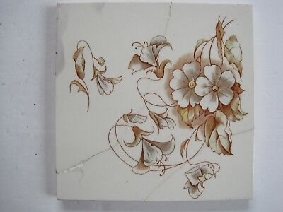 ANTIQUE FLORAL COLOURED TRANSFER PRINT TILE - H. RICHARDS - PATTERN No. 5203