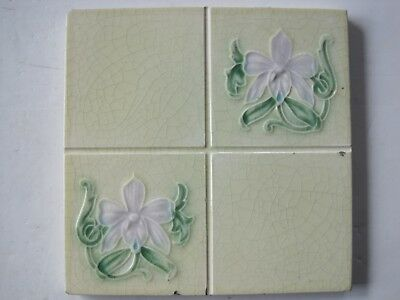 Antique Art Nouveau Glazed Wall Tile - Lilac Flowers - Corn Bros. C1898-1904