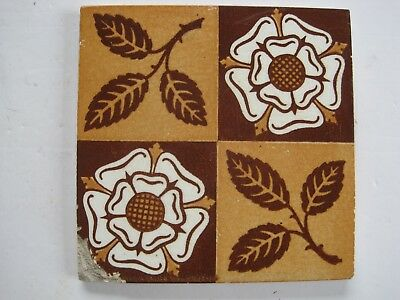 ANTIQUE VICTORIAN MINTON HOLLINS AESTHETIC TUDOR ROSE WALL TILE c1875-1910