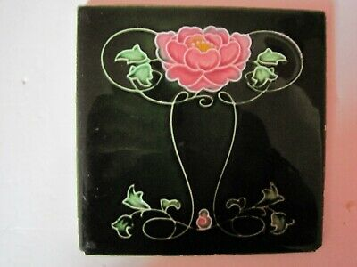 Antique Lea & Boulton Moulded Majolica Glazed Art Nouveau Floral Tile