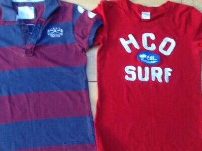 2 X Ladies T-shirts  Size 10 Hollister Jack Wills Polo Surf Red Striped