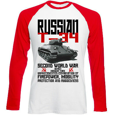 Russian T-34 Tank Wwii - New Red Sleeved Tshirt