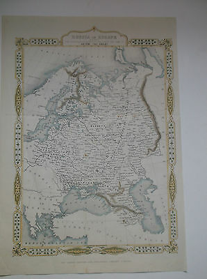 """RUSSIA IN EUROPE """"SINCE TIME OF PETER THE GREAT"""" TALLIS MAP-DATED 1860 10""""x14"""""""