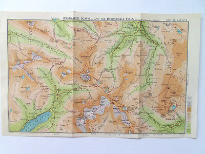 WASTWATER SCAFELL-LAKE DISTRICT  BARTHOLOMEWS 1930 MAP-1 INCH TO  MILE10x6in