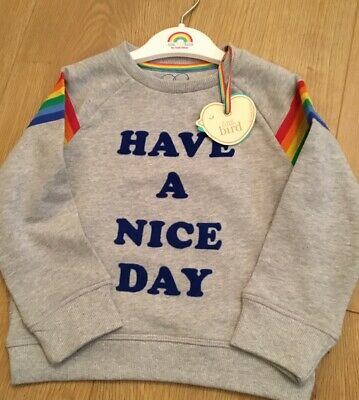 Little Bird Jools Oliver Have A Nice Day Sweatshirt /Jumper & Hanger 18-24