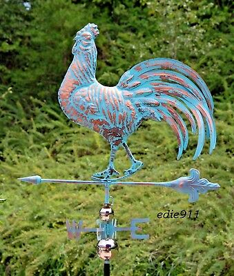 LARGE STRUTTING ROOSTER 3D Weathervane AGED COPPER PATINA FINISH Handcrafted