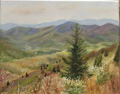"Original oil painting, Landscape, COLORFUL HILLS  , 8x10"" Schelp"