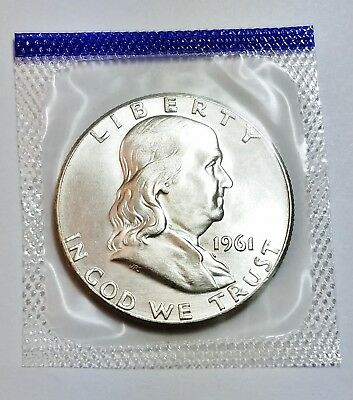 1961 P Franklin Half **90% Silver**  *uncirculated Mint Cello* **free Shipping**