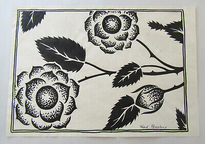 Fred Rosebury - Vintage Original Ink Drawing - Abstract Floral Signed Listed Art