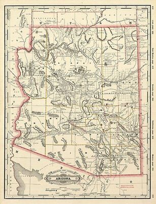 Railroad and county map of AZ c1887 repro 17x24