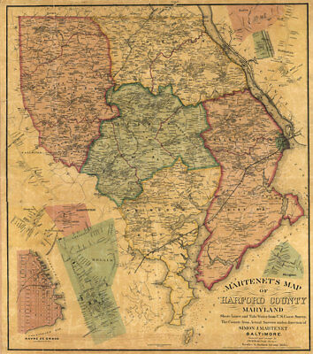 Map of Harford County Maryland c1878 repro 24x27
