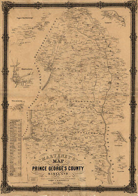 Map of Prince George's County Maryland c1861 repro 24x34