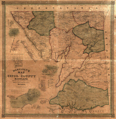 Map of Cecil County Maryland c1858  repro 24x24