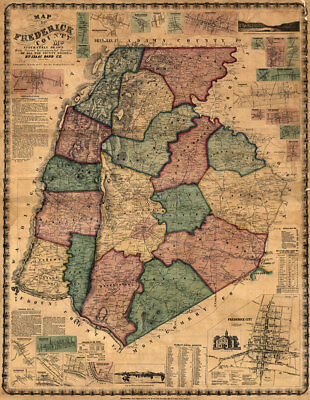 Map of Frederick County Maryland c1858  repro 24x31