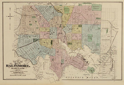 Map of the City of Baltimore MD c1877 repro 24x16