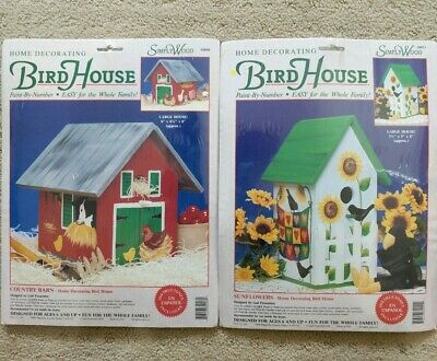 Simply Wood BIRD HOUSE KITS Paint By Number~Lot 2~Sunflowers Country Barn NEW