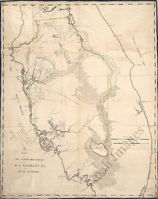 Map of lands in east Florida c1823 repro 24x30