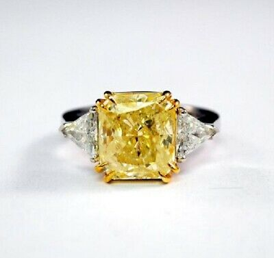 2.0 ct. Radiant Cut w/ Trillion Natural Fancy Yellow Diamond Engagement Ring GIA