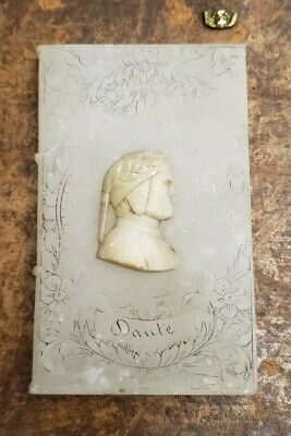 Antique 19th Century Italian Carved Alabaster Dante Book Paper Weigh
