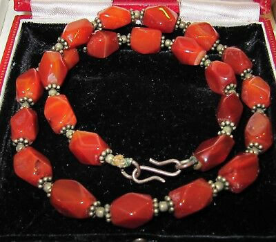 Beautiful Vintage Jewellery French Faceted Real Carnelian Choker/Necklace