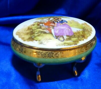 Antique French Porcelain Fragonard Sevres Footed Box  CALARYCE Hallmark