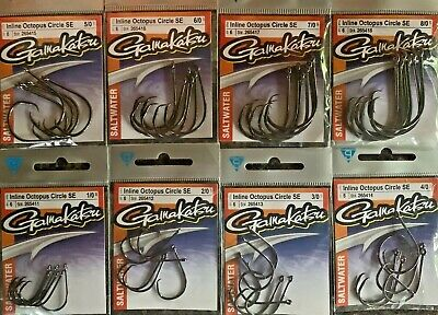 Gamakatsu  Inline Octopus Circle SE Black  1/0 - 8/0 Choose All are 6 per pack