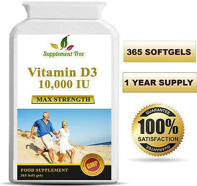 Vitamin D3 10000iu 365 Softgels Capsules - High Strength Vit D Cholecalciferol