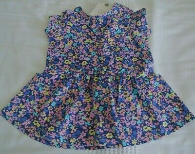 New Next baby girls 100% soft cotton dress Blue/floral up to 1 month