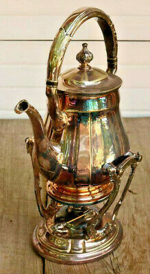 Ornate Silver Plate Tea Pot with Stand Warmer Estate Old Beautiful Estate AZ
