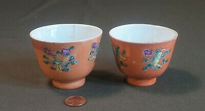 Pair of Early 1900 Chinese Famille Rose Polychrome Tea Cup Marked on Bottom