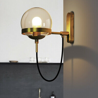 Modern Simple Style Globe Glass Wall Sconce Antique Brass Finish Wall Fixture