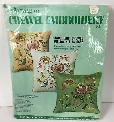 "Vtg Paragon Jacobean Floral Bloom Crewel 14""x14"" Pillow Kit Ecru Linen Fabric"
