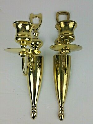 A Unmatched Pair of Brass Candle Stick Holder Hanging Wall Sconces Rare Vintage