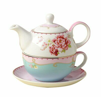 Jusalpha Fine Bone China Teapot for One, Rose Teapot and Saucer Set- Tea Cup wit
