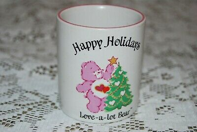 Vintage CARE BEARS Love-A-Lot VOTIVE CANDLE HOLDER~ Happy Holidays~ Sweet!