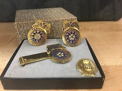 Vtg International Brotherhood Of Teamsters Cuff Links & Tie Clip Gold Plated New