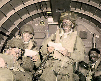 """439th TROOP CARRIER 101st AIRBORNE 1944 WWII 8x10"""" HAND COLOR TINTED PHOTOGRAPH"""