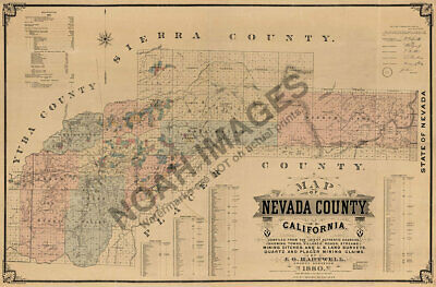 Map of Nevada County CA c1880 repro 36x24