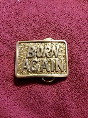 VINTAGE 1970s **BORN AGAIN** RELIGIOUS SOLID BRASS BARON BELT BUCKLE