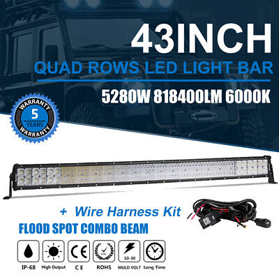 "43INCH 5280W LED Work Light Bar PK 44"" Driving Offroad Flood Spot Combo SUV 4WD"